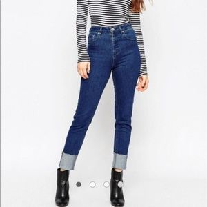 ASOS Slim Mom Cuffed Raw Hem Ankle Jeans